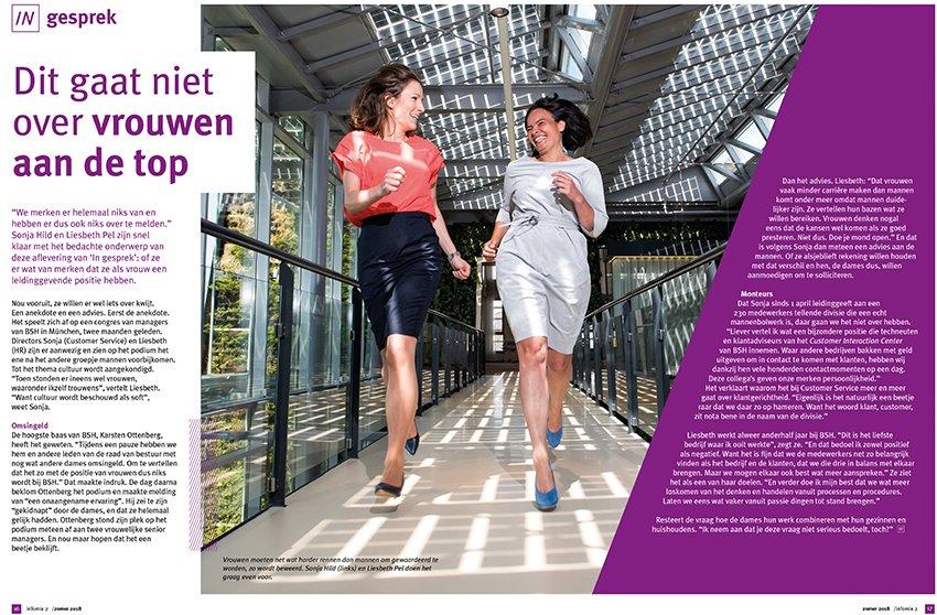 Nieuwe foto's voor het personeelsblad Infomix van Bosch Siemens Holding. Rennende dames gefotografeerd door BLINKfotografie.